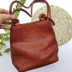 Vintage Valerie Stevens Leather Woven Bucket Bag